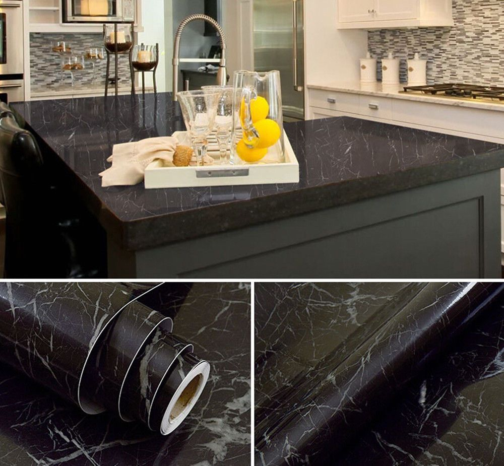 Black Granite Marble Gloss Film Vinyl Self Adhesive Wallpaper Top Peel Ebay Kitchen Countertops Replacing Kitchen Countertops Popular Kitchens