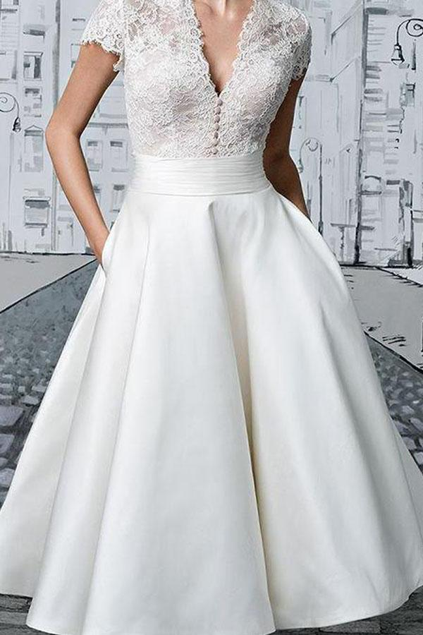 Short Wedding Dresses V Neck Lace Tea Length Ivory Simple Bridal Gown Pgmdress In 2020 Short Lace Wedding Dress Simple Bridal Gowns Bridal Gowns Vintage