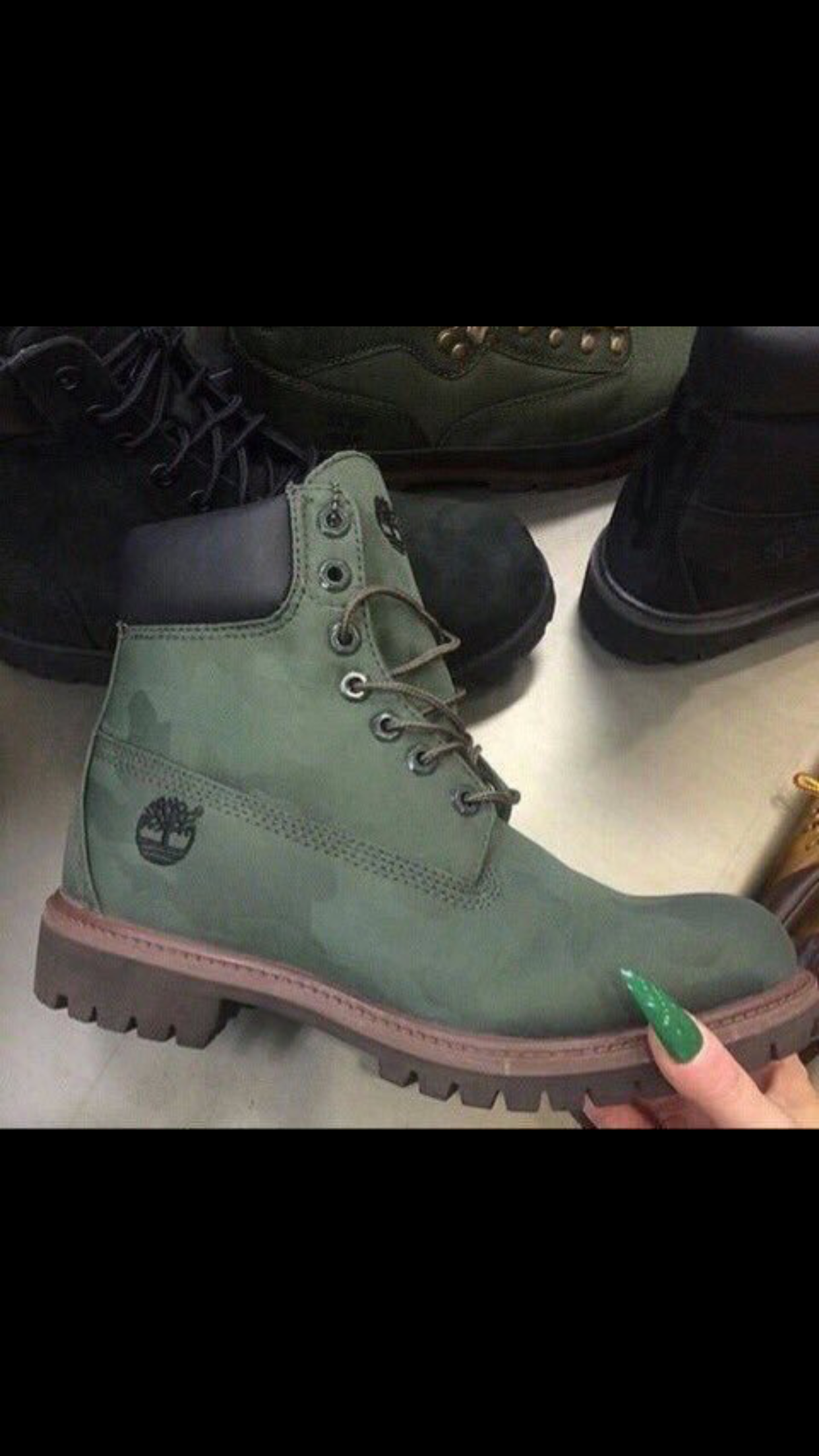Green timberland boots image by Emma Louise on Footwear