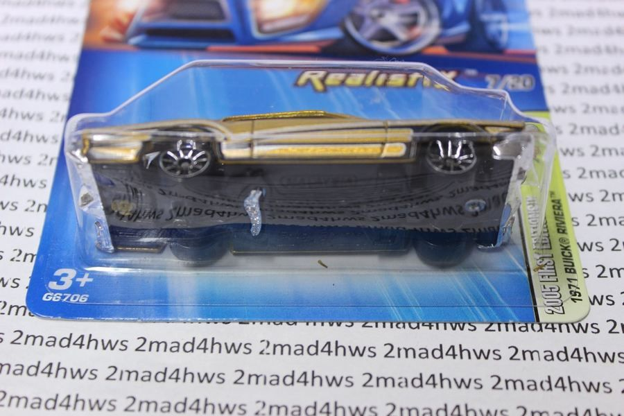 2005 Hot Wheels Kmart Color Gold 1971 Buick Riviera Realistix 7 20 Moc 007 Kmart Color Gold Buick Riviera Hot Wheels Buick