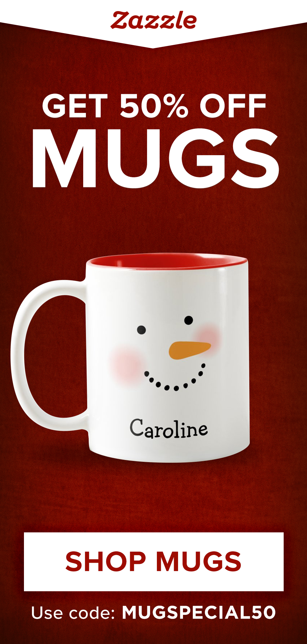 Get 50% off custom mugs with code MUGSPECIAL50. Personalize with photos and text or browse our selection of thousands of other designs. Shop themes for Christmas, Disney, Star Wars, funny, inspirational and more! Ends Friday, November 6, 2020.