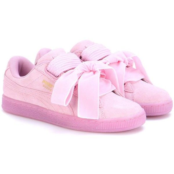 4b97468aee Puma Suede Heart Reset Damen Sneakers ($100) ❤ liked on Polyvore featuring  shoes, sneakers, pink, puma sneakers, pink suede shoes, suede leather shoes,  ...