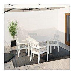ÄNGSÖ Table and 4 armchairs, outdoor - Ängsö white stained/Stegön beige - IKEA