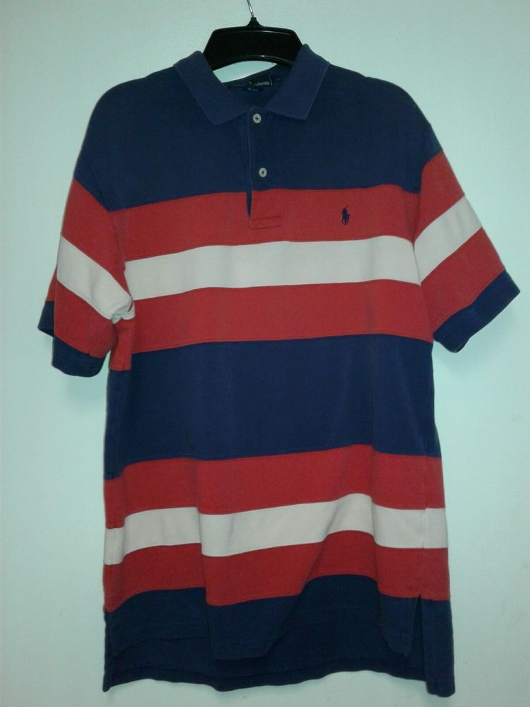 Polo Ralph Lauren Rn 41381 Shirt Red White Blue Striped Pony Men S Medium Polphlauren Polorugby