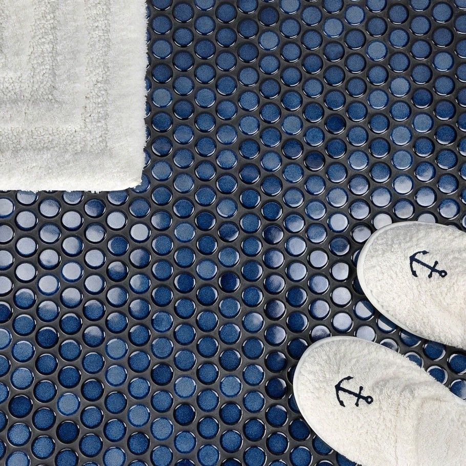 Navy Tile Trend Alert Penny Tile Penny Tiles Bathroom Ceramic