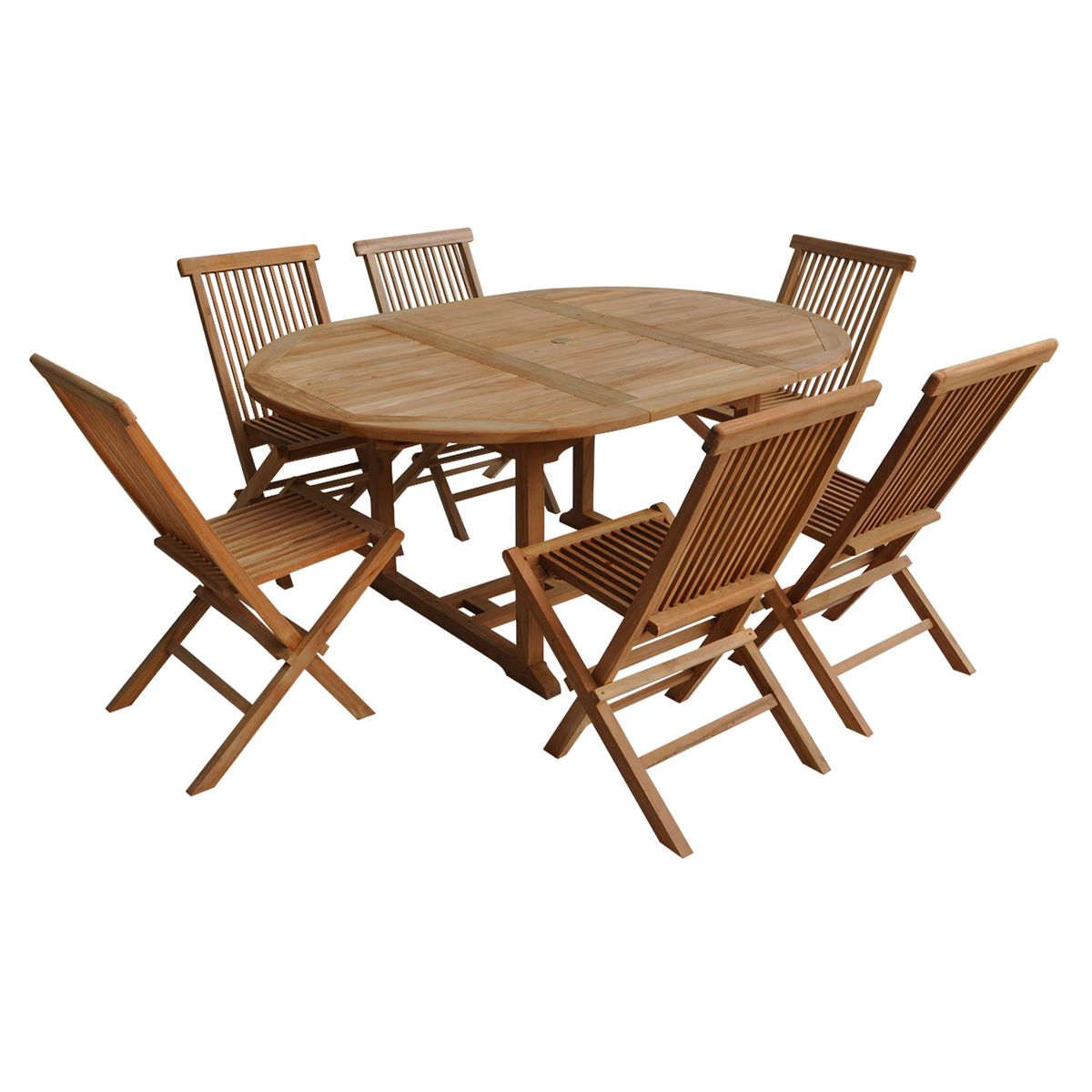 Salon De Jardin En Teck Lombok Table Ronde 6 Places Taille 6