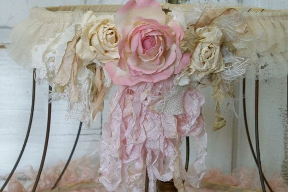 Reserved till Monday for C Pink shabby chic lampshade soft muted lace ribbon with distressed paper roses anita spero