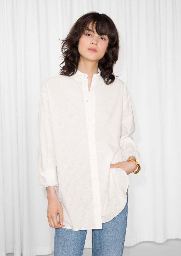 cee505d6fceef Other Stories image 2 of Straight Fit Silk Shirt in White White Burgundy