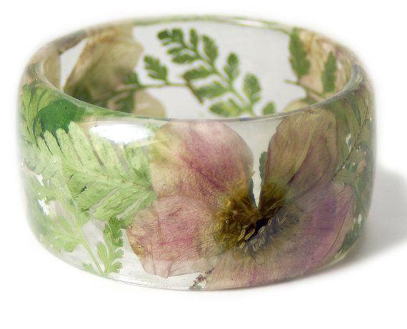 Pink Bracelet- Green Bangle- White Flower Jewelry- Resin Jewelry- Yellow Flower Bangle- Green Resin Bracelet