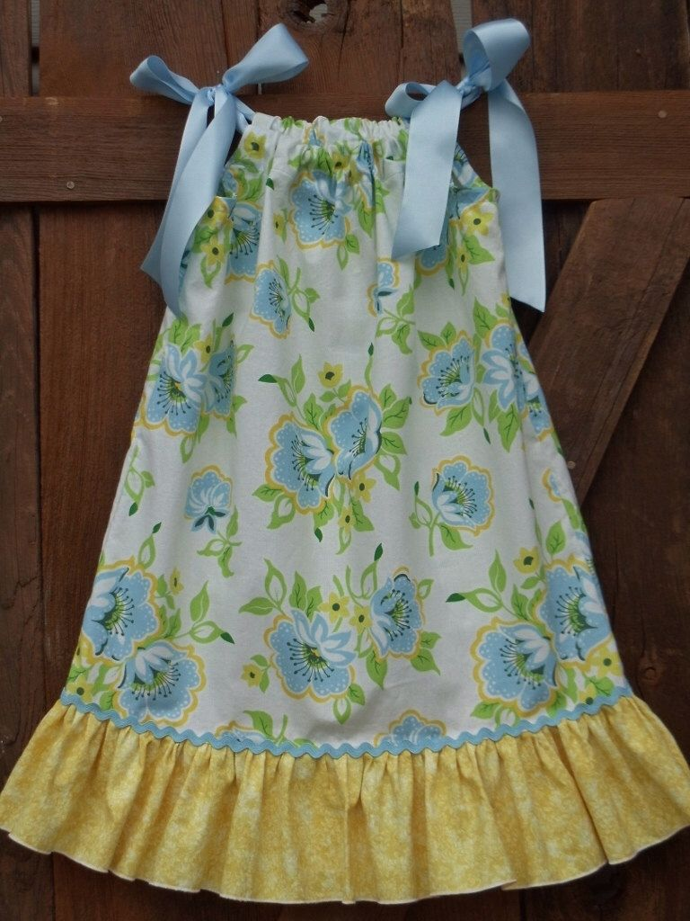 Girls Easter Spring Blue/Yellow floral Pillowcase dress sizes 12-18-24 month & Girls Easter Spring Blue/Yellow floral Pillowcase dress sizes 12 ... pillowsntoast.com