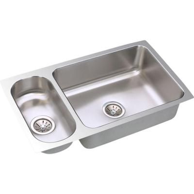 Lustertone Undermount Stainless Steel (Silver) 32 in. Double Basin ...