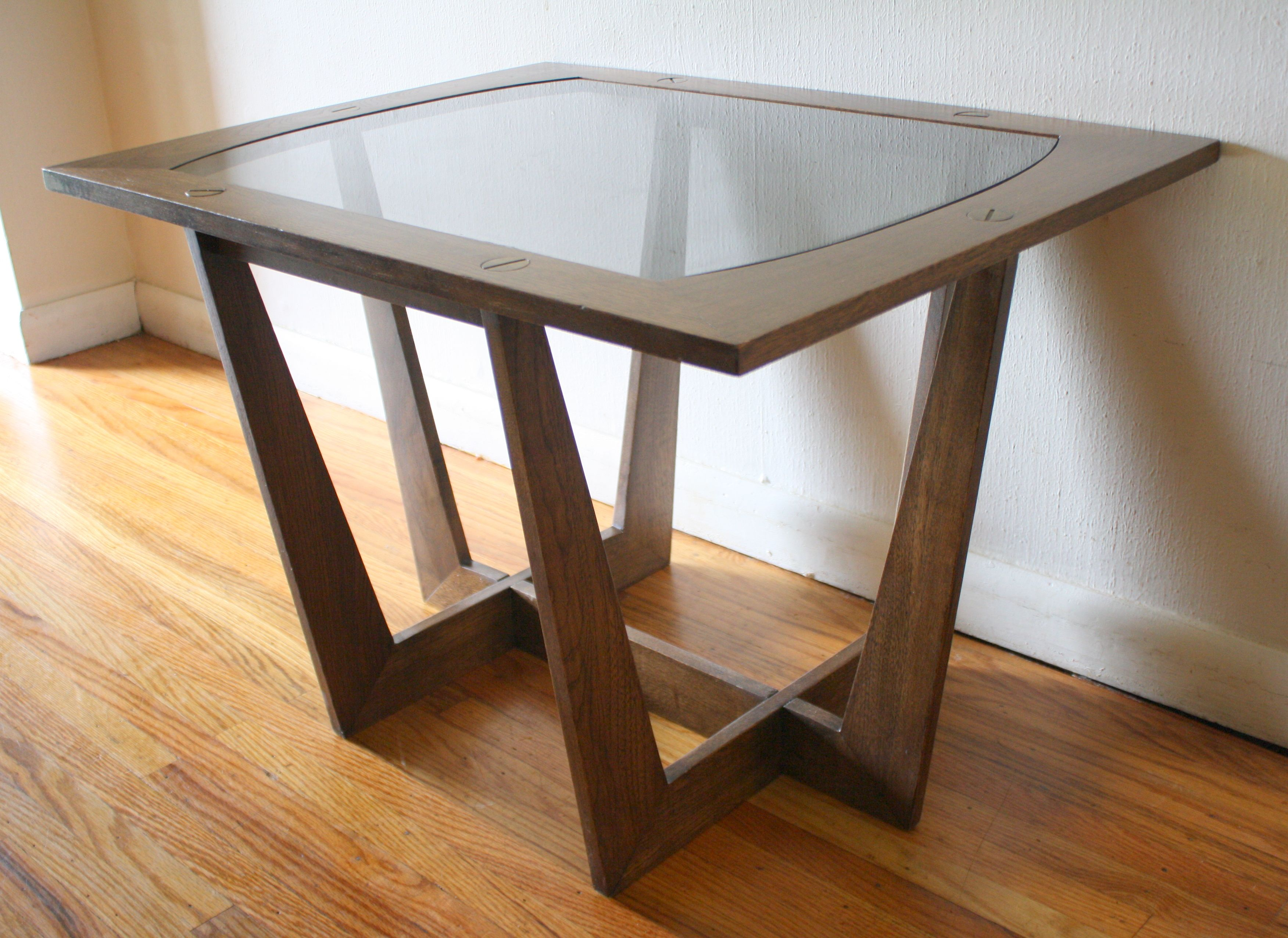 Charming Mid Century Modern Glass Top Side End Table With Sculpted Base And Brass  Screw Detail