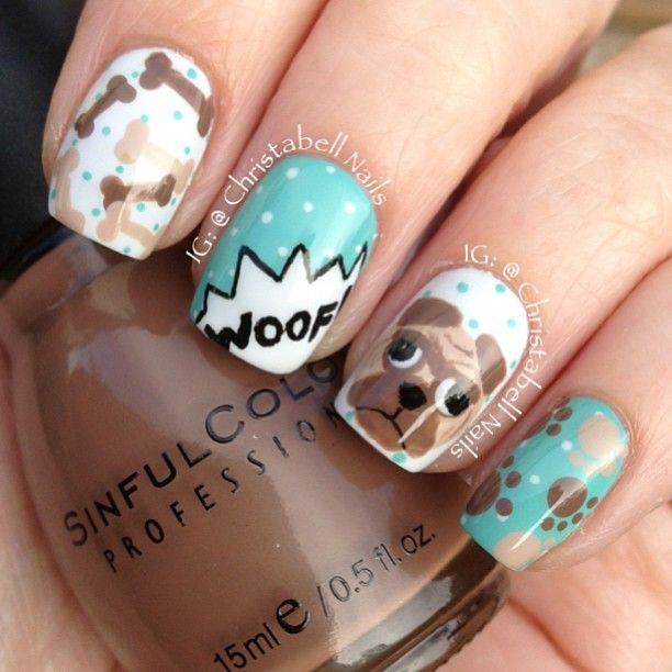 Zero The Dog Nail Designs: These Pug Nails By @christabellnails Are Just Adorable. I