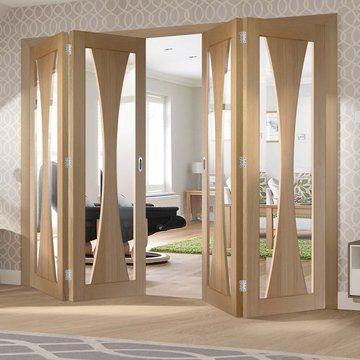 Four Folding Doors & Frame Kit – Verona Oak 2+2 – Clear Glas…