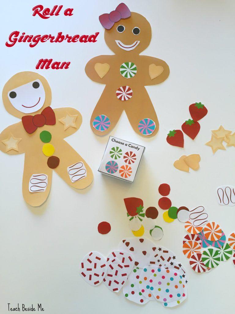 Roll A Gingerbread Man Preschool Christmas Game Gingerbread Man Decorations Christmas Crafts For Kids Arts And Crafts For Kids Gingerbread man preschool games
