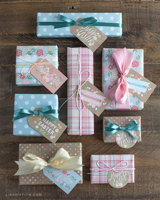 Free printable gift wrap and tags for Spring and Easter {Lia Griffith}