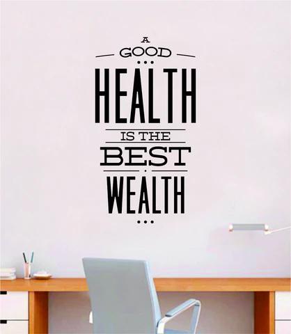 Health Wealth V2 Quote Wall Decal Sticker Bedroom Room Art Vinyl Inspirational Motivational Teen School Baby Nursery Kids Office Gym