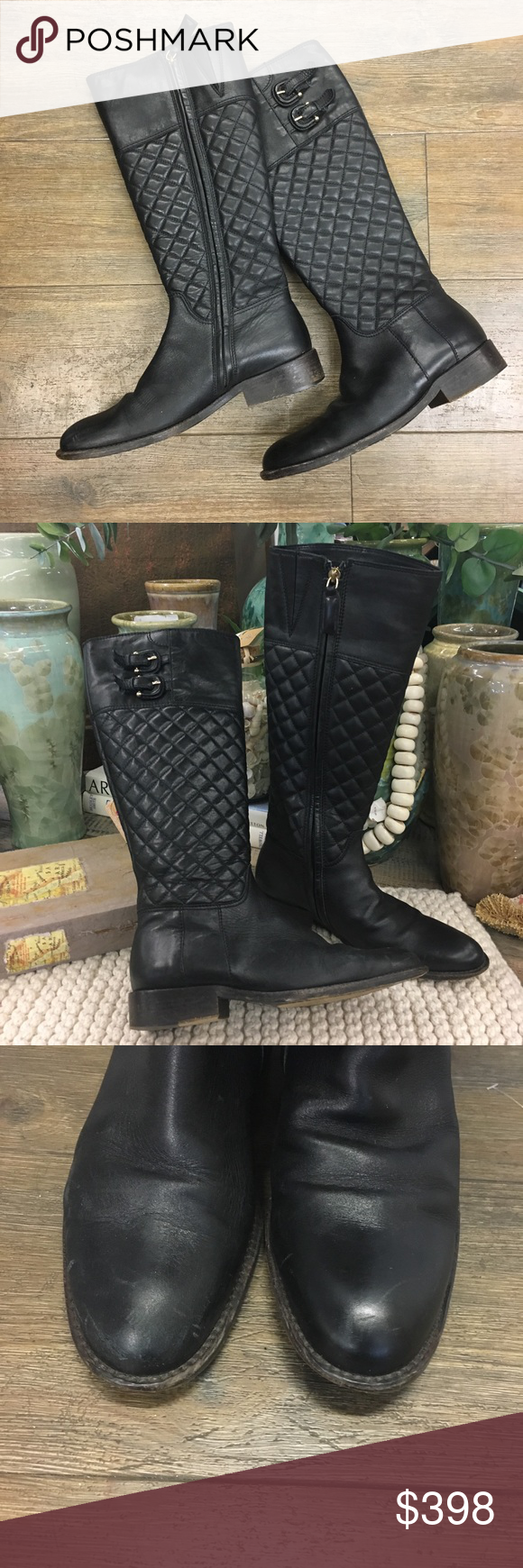 Burberry Black Leather Boots 35 5 Black Leather Boots Leather Boots Burberry Shoes