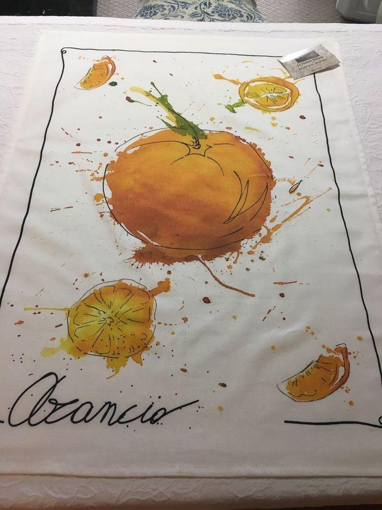 Le Telerie Toscane Cotton 21 X 27 White Orange Decorative