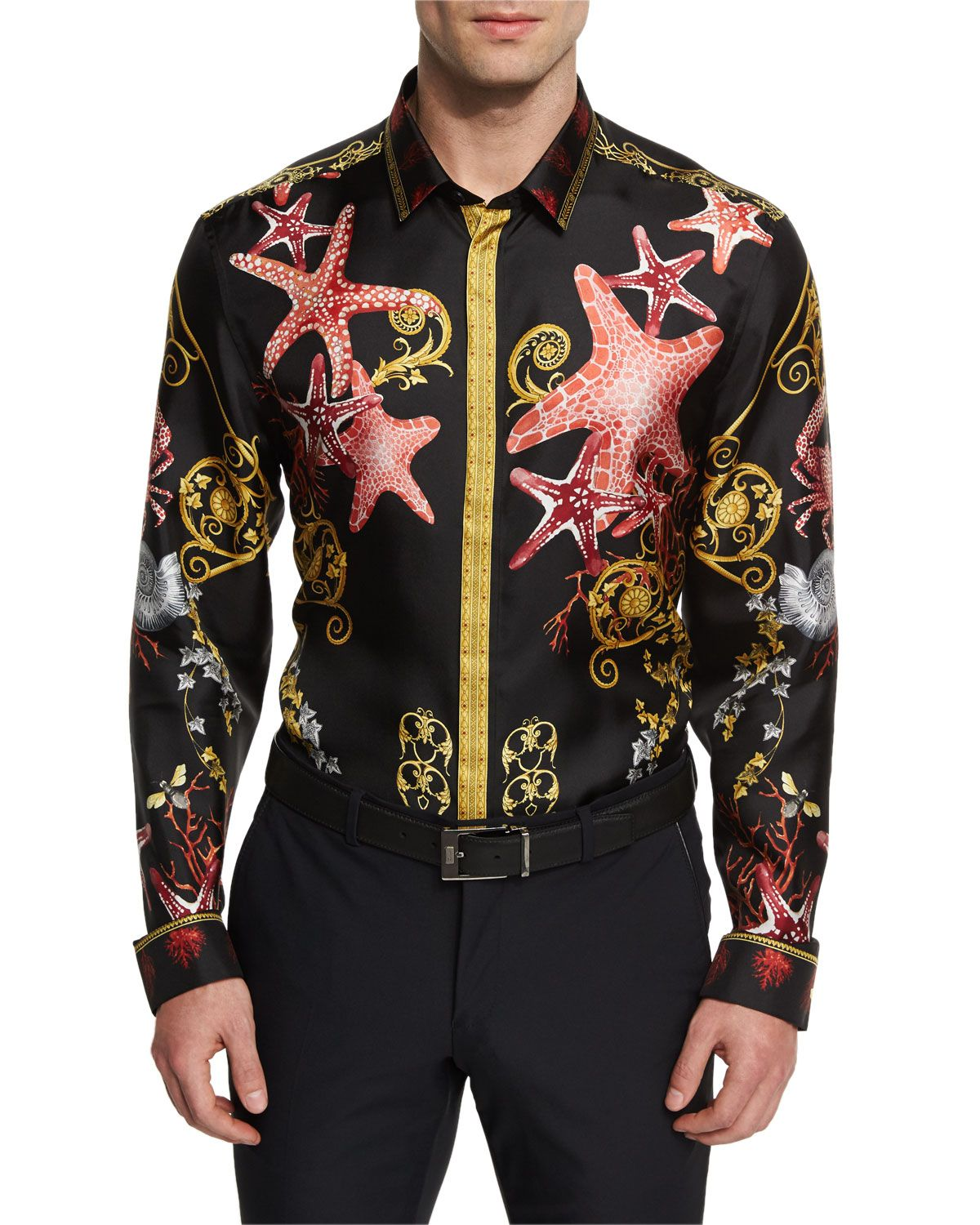 3908d254 Sea Life Printed Silk Sport Shirt Black Multi | *Clothing ...
