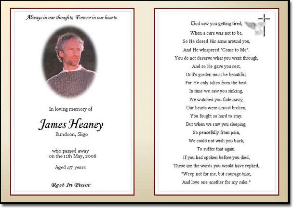 Business Card Word Template Funeral Prayer Card Template