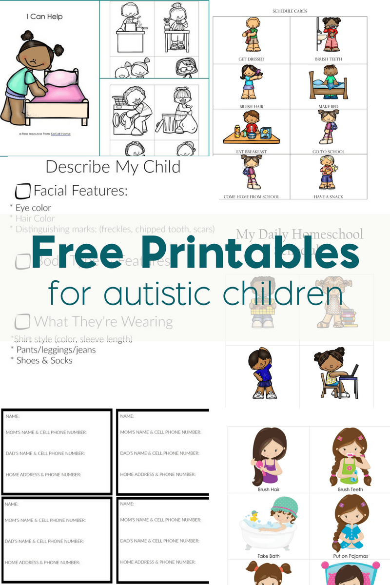 Free Printables for Autistic Children and Their Families or ...