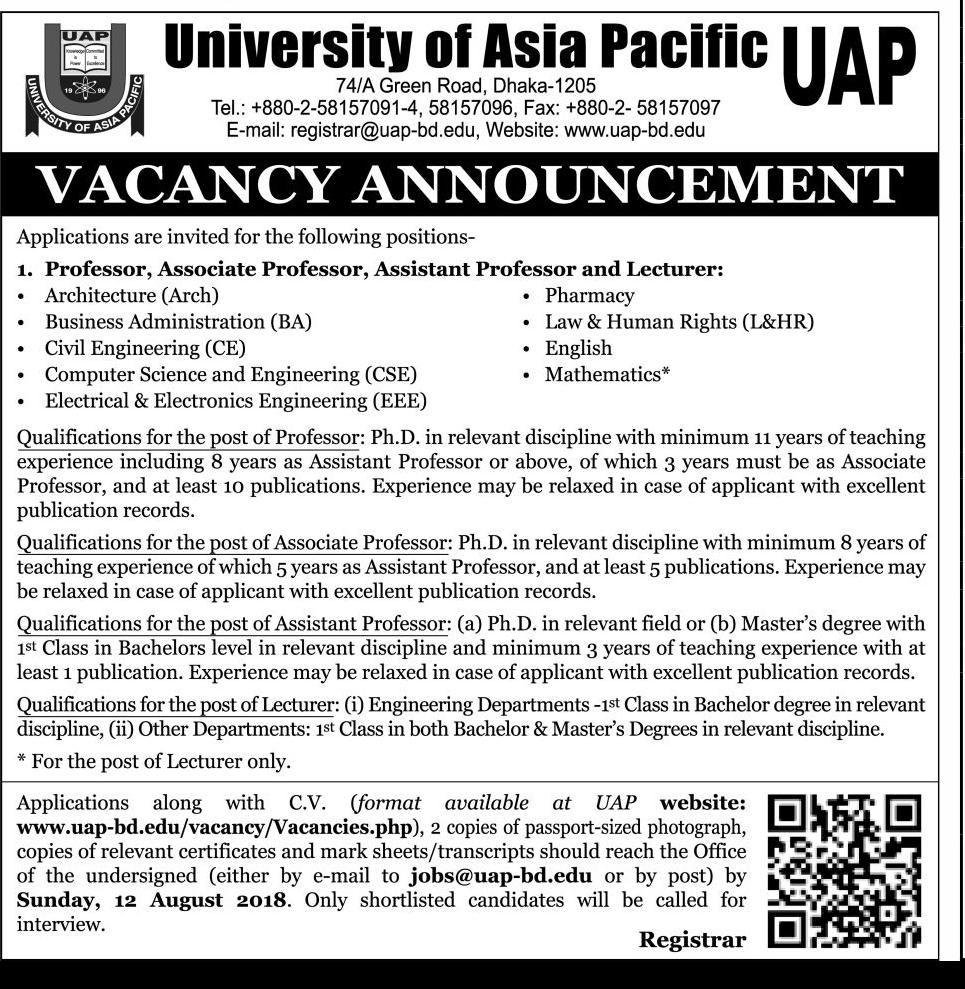 University of Asia Pacific (UAP) Teacher Job Circular 2018