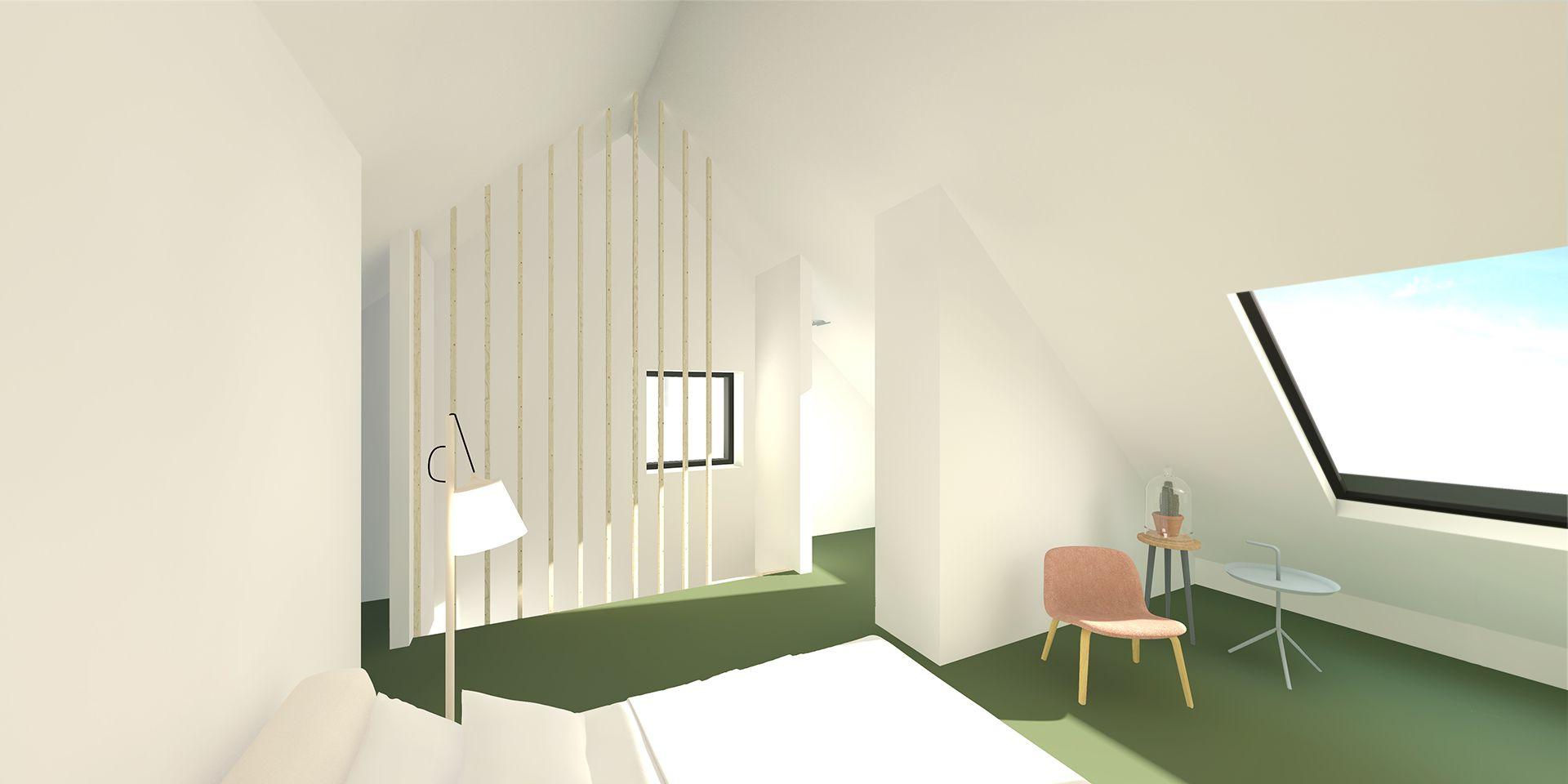 Zolder renovatie glas hout plywood modern belgi tuin interieur raam terras gevel - Renovatie volwassen kamer ...