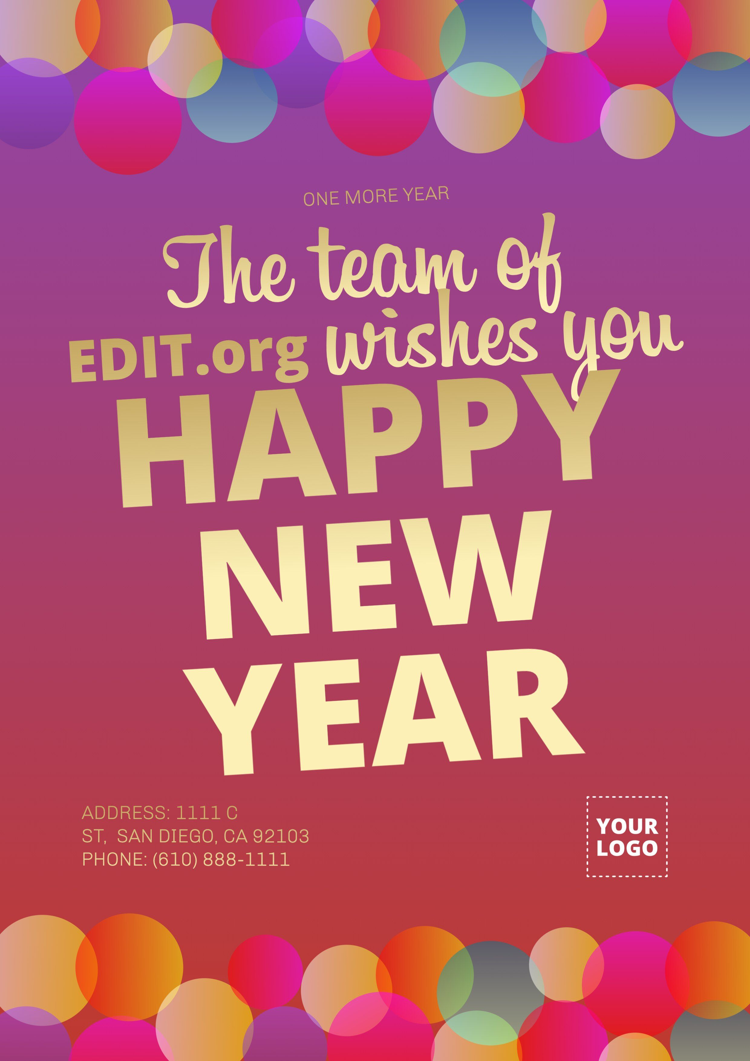 Happy New Year Poster To Edit Online In 2020 Happy New Year Christmas Campaign New Years Poster