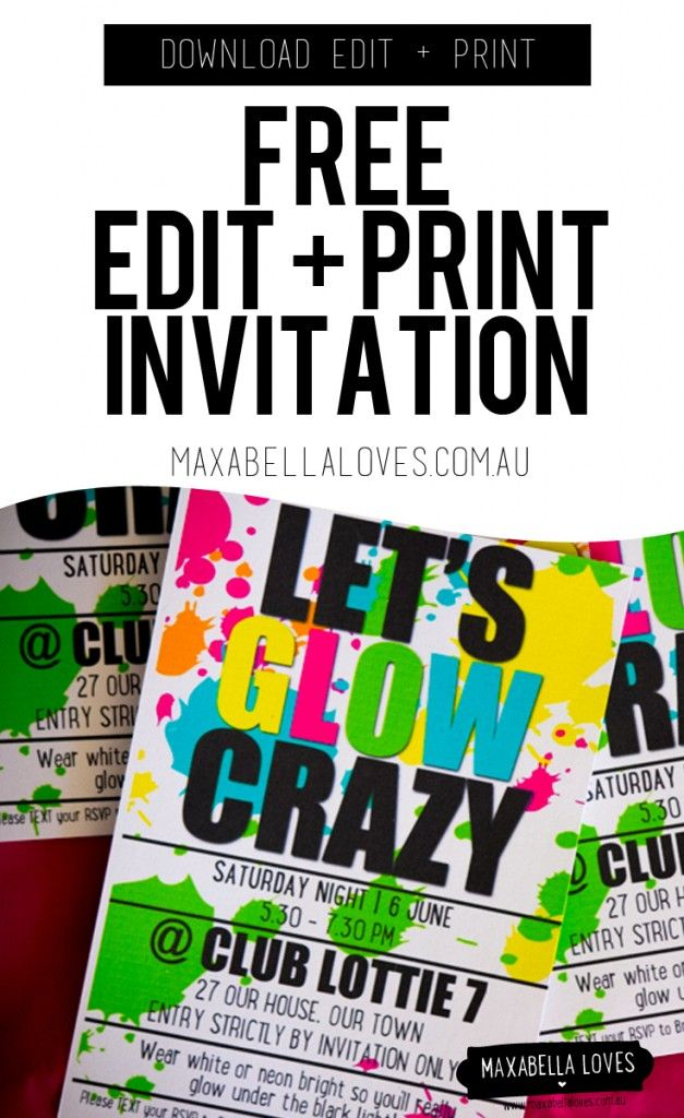 Versatile image inside free printable glow party invitations