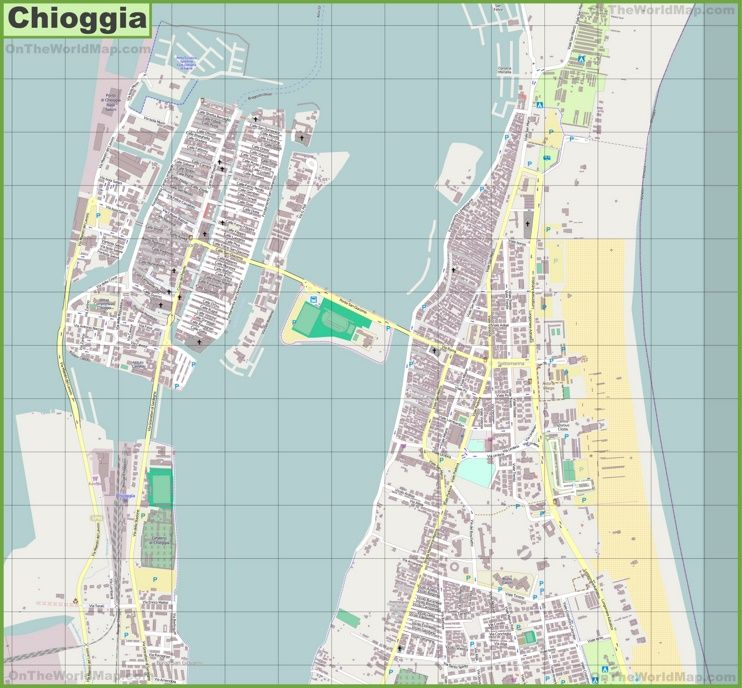 Large detailed map of Chioggia Maps Pinterest Italy and City