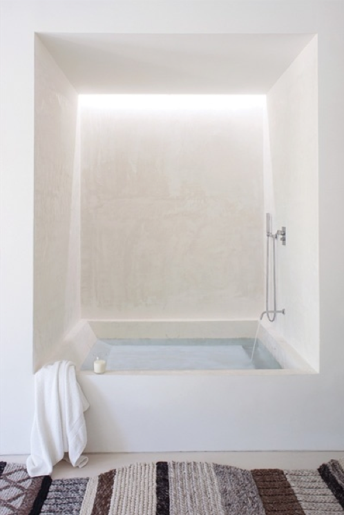 consider the lighting effect for the tub wall/niche