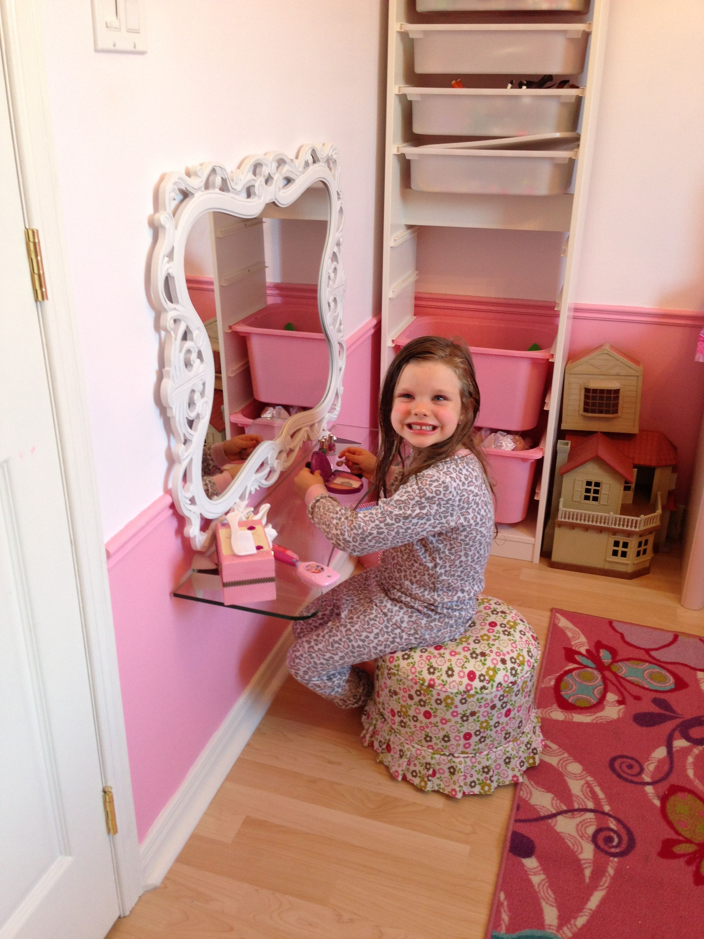 diy vanity for little girl. DIY vanity for 5 year old princess  Small space solution For the