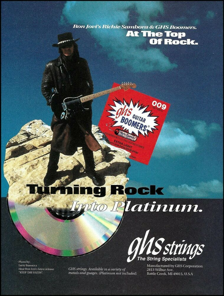 Bon Jovi Richie Sambora 1994 Ghs Guitar Strings Ad 8 X 11 Advertisement Print Ebay In 2020 Bon Jovi Acoustic Guitar Strings Guitar Strings