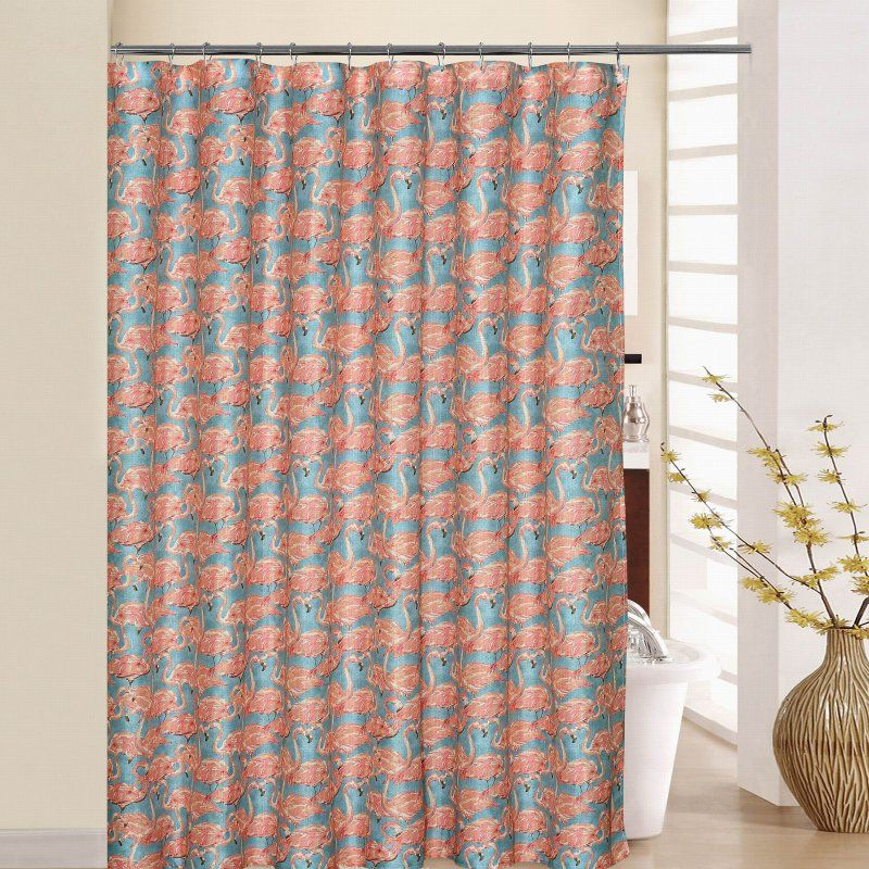 Waverly Beach Social Shower Curtain With Rings Blue Shower