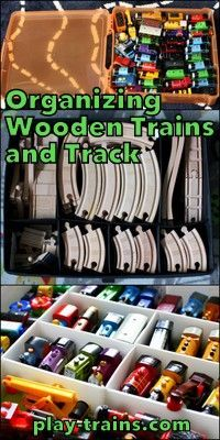 Organizing Wooden Trains and Track  The Play Trains! Ultimate Wooden Train Guide is part of Playroom Organization With Train Table - Suggestions for organizing wooden trains and wooden train tracks