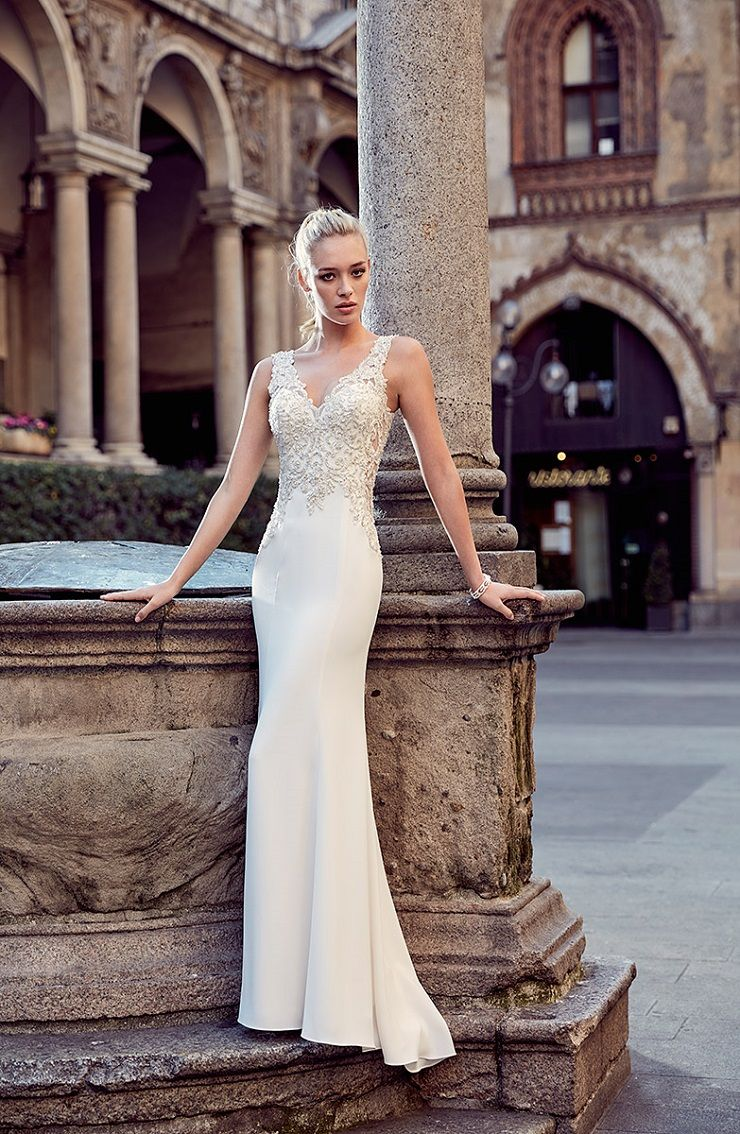 Eddy K Milano Style MD233 - Illusion Sleeves Fit and Flare wedding dress | itakeyou.co.uk #weddingdress #wedding #weddingdresses #weddinggown #bridalgown #bridaldress #weddinggowns #engaged