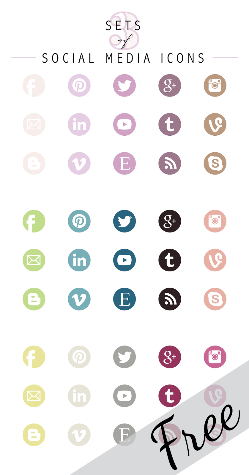 Social Media Icons Set Social media icons, Media icon