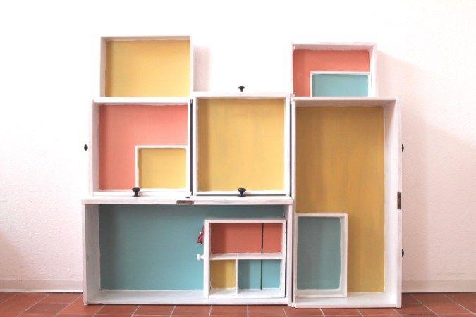 tafelfarbe selbermachen ein regal aus schubladen bauen diy einrichtungslieblinge. Black Bedroom Furniture Sets. Home Design Ideas