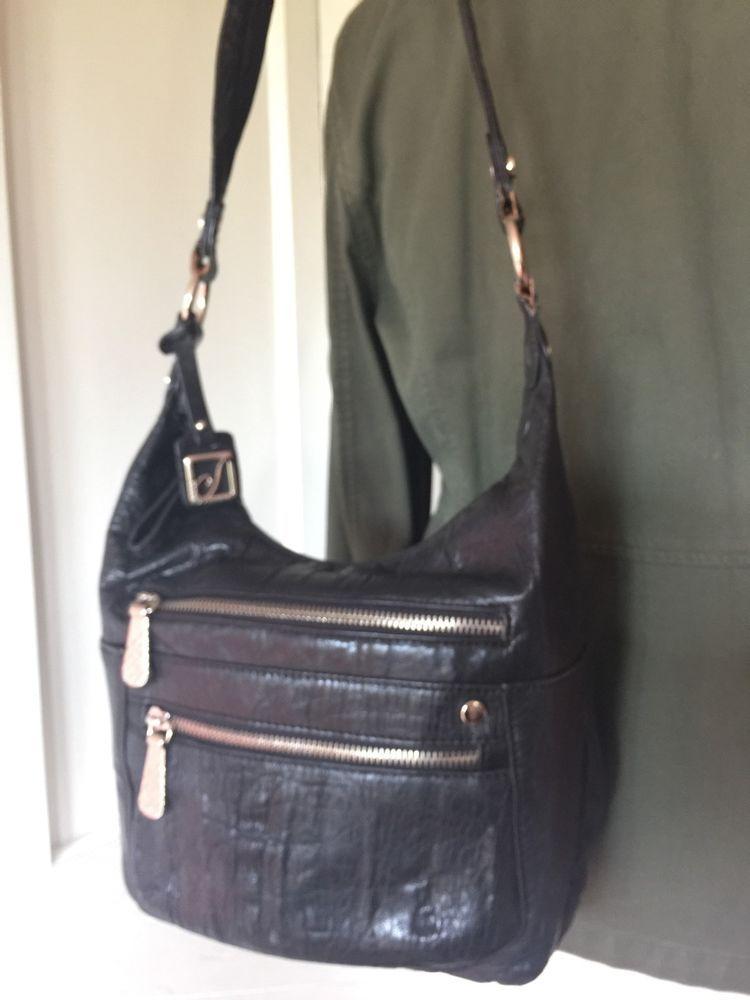 2fa10298c3 Stone Mountain Pocket Shoulder Bag Black Crinkle Leather Slim Med Purse  Handbag | eBay
