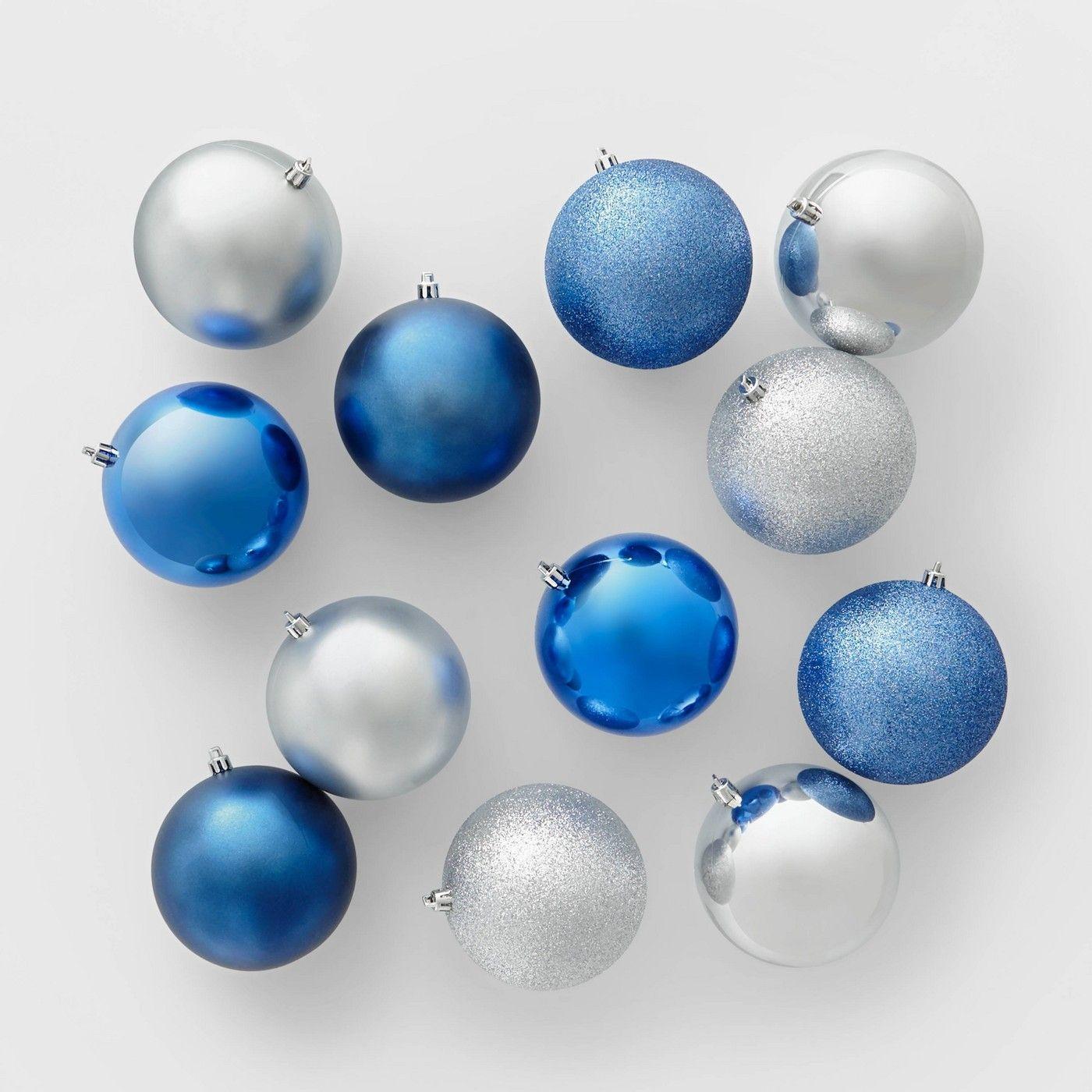 12ct 100mm Shatter Resistant Christmas Ornament Set Dark Blue Silver Wondershop Affiliate Mm Ad Christmas Ornament Sets Ornament Set Christmas Ornaments