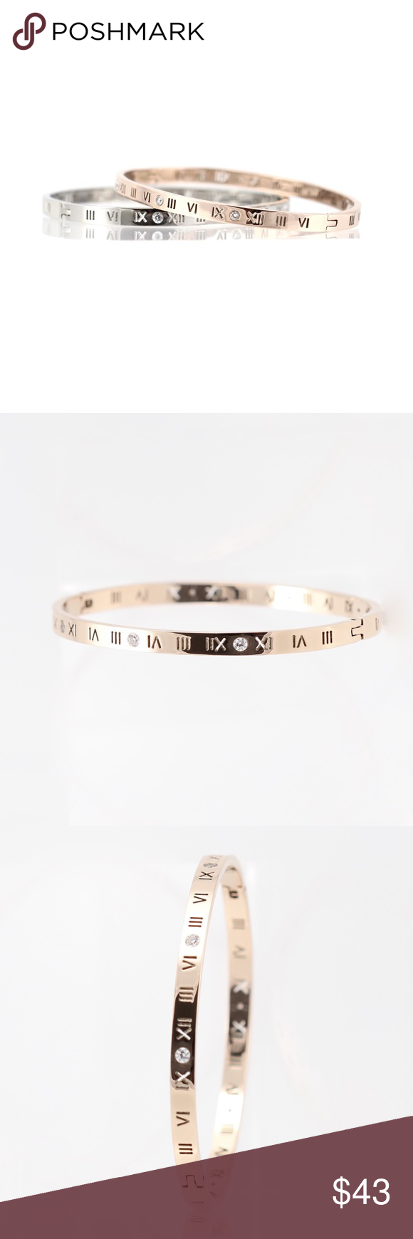 Lexis rose gold roman numeral bangle boutique my posh picks