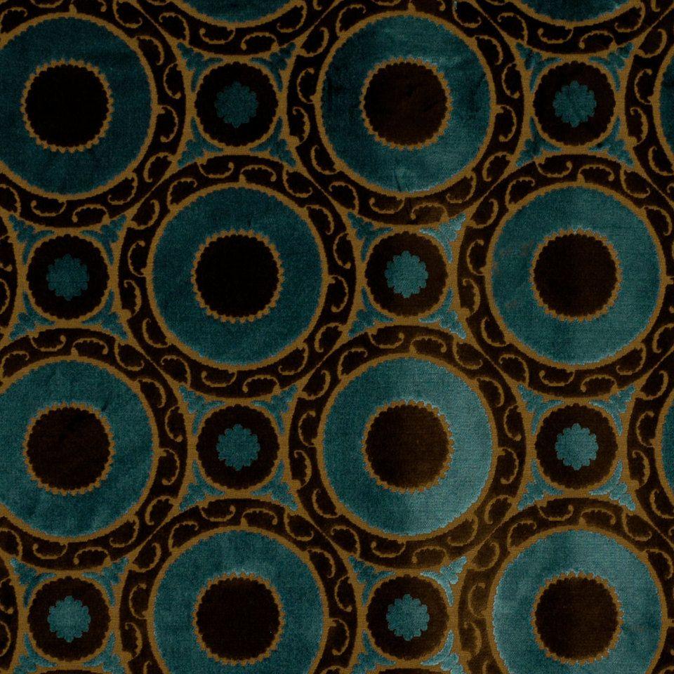 Peacock Blue Velvet Geometric Fabric Brown By PopDecorFabrics