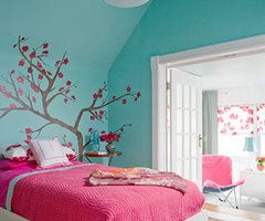 Nice Bedroom: How To Decorate A Teenage Girlu0027s Room With Bright Colors Cherry  Blossom Wall Decor And Bluish Green Wall For Chic Teenage Girlu0027s Room Ideas  With ...