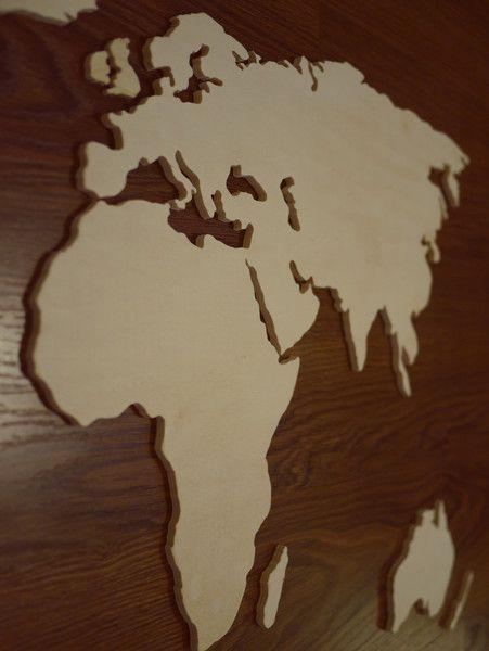 kontinente l nder weltkarte aus holz nach ma von merk echt auf wohnen. Black Bedroom Furniture Sets. Home Design Ideas