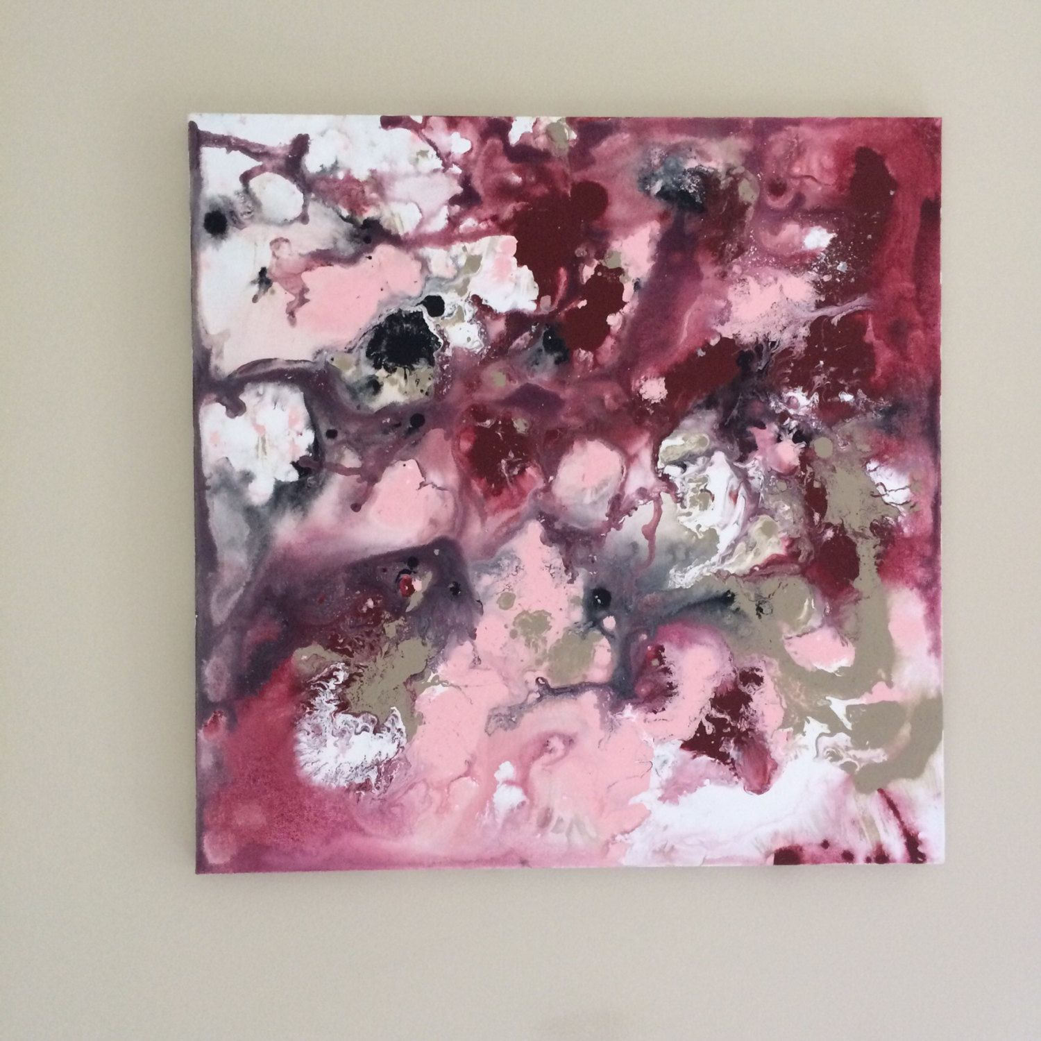 Abstract flow art burgundy pink art pink painting original acrylic