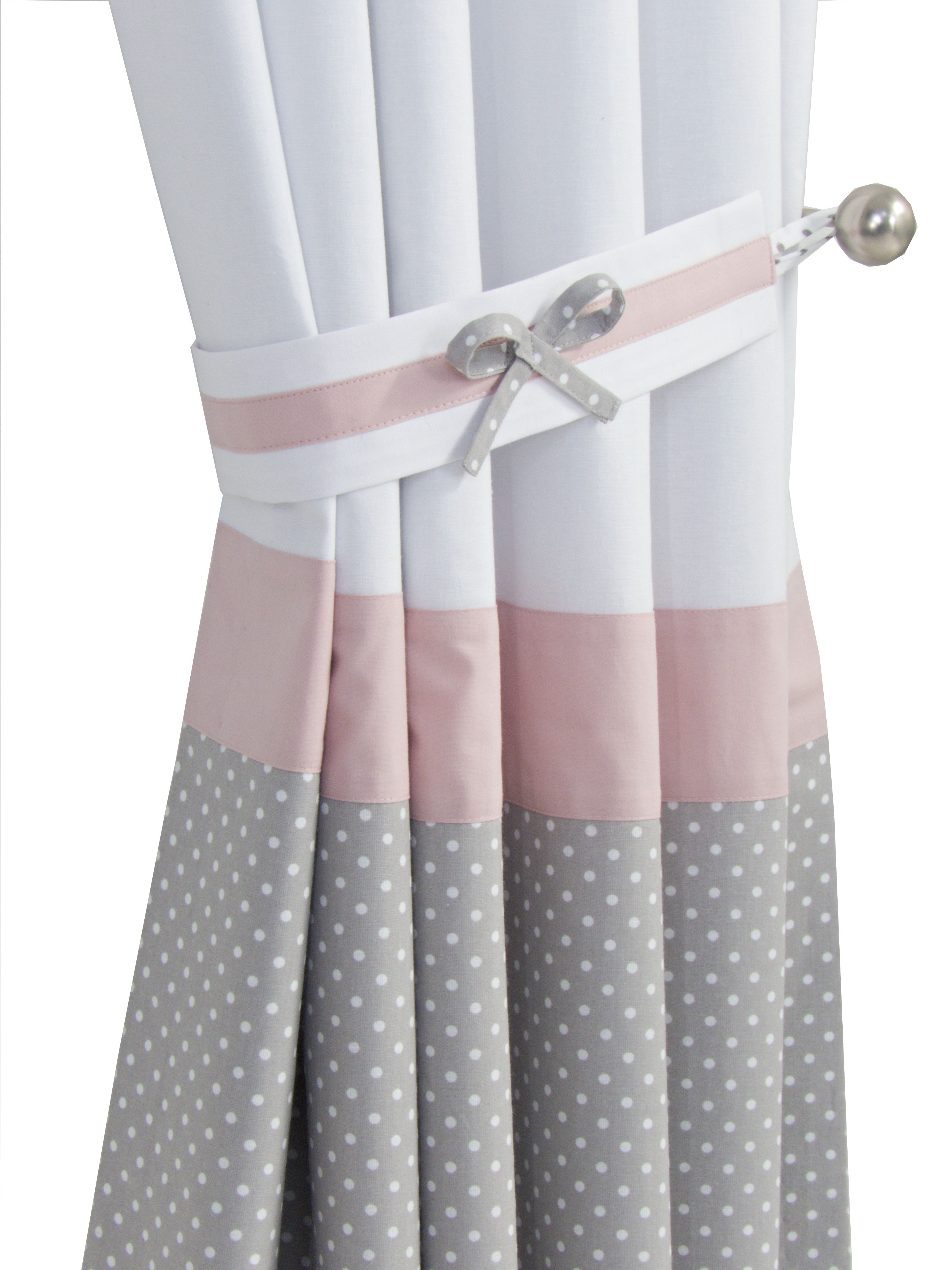 Blush Dusty Pink White Grey Nursery Blackout Curtains For Baby