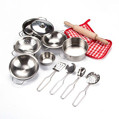 Toyerbee Pretend Play Toys Little Chef Stainless Cookware Set 15 Piece Toy Pots And Pans With Coo Kids Kitchen Utensils