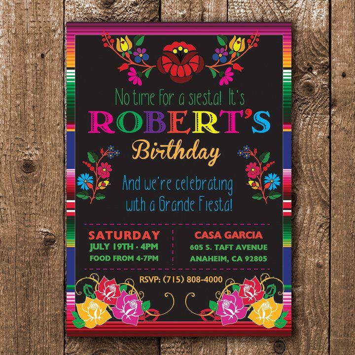 Fiesta Birthday Invitation, Mexican Birthday Invitation, Floral ...