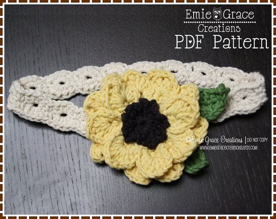Flower headband crochet pattern sunflower by emiegracecreations flower headband crochet pattern sunflower by emiegracecreations mightylinksfo